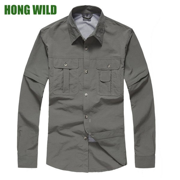 Men's Hiking Shirts Quick Dry Shirt Men Tactical Clothing Outdoor Camping Long Sleeve Removable Shirts