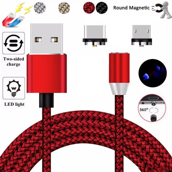 New Fast Charging Magnet Charge Cable LED Light 8 Pin Micro USB Type C for All Phone i7 Samsung Xiaomi Magnetic Charging Cables Code