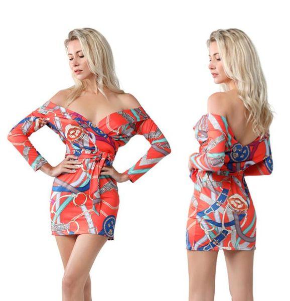 Women Draped Off-Shoulder Bodycon Vintage Mini Dress 19ss Summer Print Fashion Sexy Club Mini Dresses Clothes