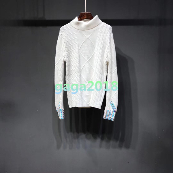 Women's girls long sleeve sweater Cable t-shirt knit tees warm top Sweatshirt stretch TURTLE NECK warm shirt blouse Pullover sequin Crystal
