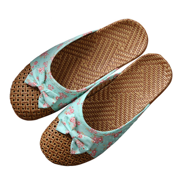 New Women' Slippers Linen Home Female Bathroom Slippers Indoor Shoes Summer Hemp Beach Slippers Flip-flop