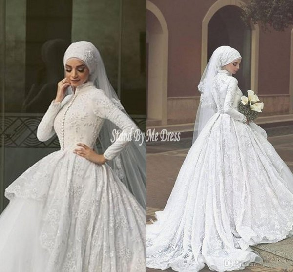 Luxury 2019 Muslim Ball Gown Wedding Dresses Long Sleeve High Neck Covered Bridal Gowns with Lace Appliques Dress for Weddings Brides