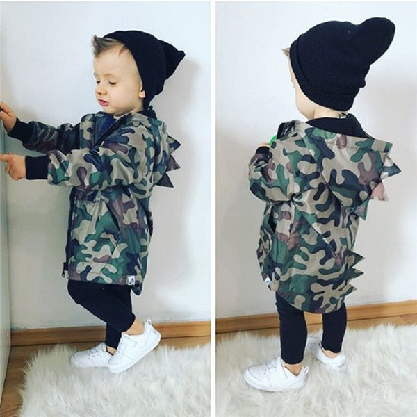 Winter Coat For Kids Toddler Kids Baby Boy Camouflage Long Sleeve Dinosaur Hooded Windproof Tops Coat Clothes Kids Clothes O10#F