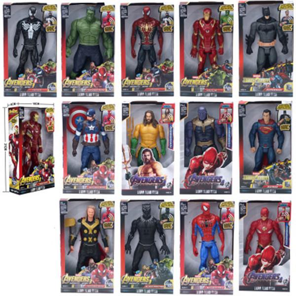 "Marvel Super Heroes Avengers Thanos Black Panther Captain America Thor Iron Man Spiderman Hulkbuster Hulk Action Figure 12"" 30cm Y190604"