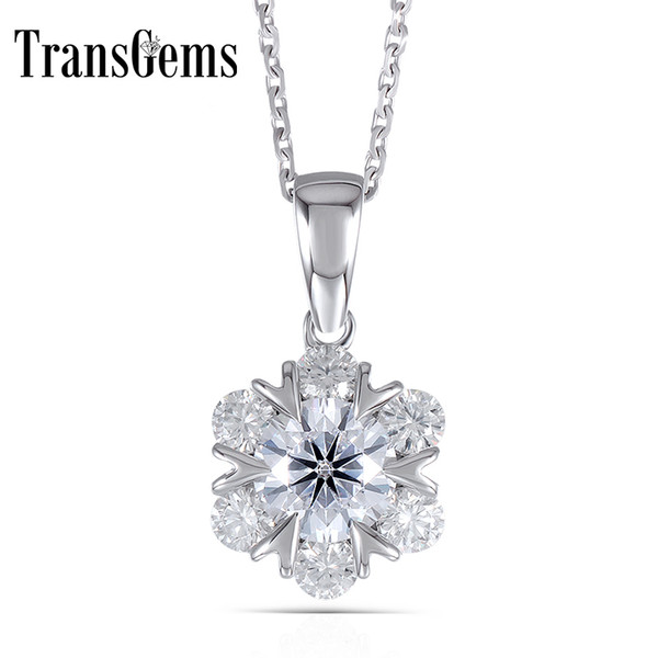 Transgems 14k White Gold 585 6.5mm F Color 1.6ctw Round Brilliant Mossanite Flower Shaped Pendant Necklace For Women Y19032201