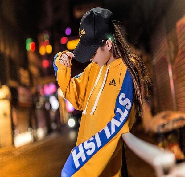 Kadın Hoodies Moda 2019 Bahar Yeni Varış Streetwear Hip-Hop Gevşek Mektup Baskı Kemer Kazak Polyester Boyutu M-XXXL