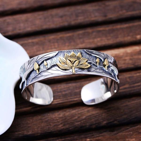En gros 925 Sterling Silver Golden Two Tone Femmes Bracelet De Manchette Bracelet Chine Style Gravé Fleur De Lotus