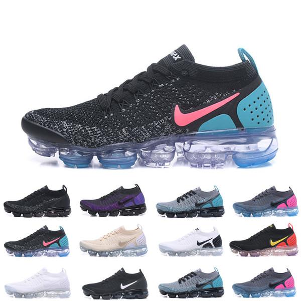 Nike Vapormax flyknit air max Chaussures Moc 2 Laceless 2.0 Chaussures de course Triple Noir Hommes Femmes Chaussures coussin en tricot blanc Fly Formateurs Zapat MQ6927