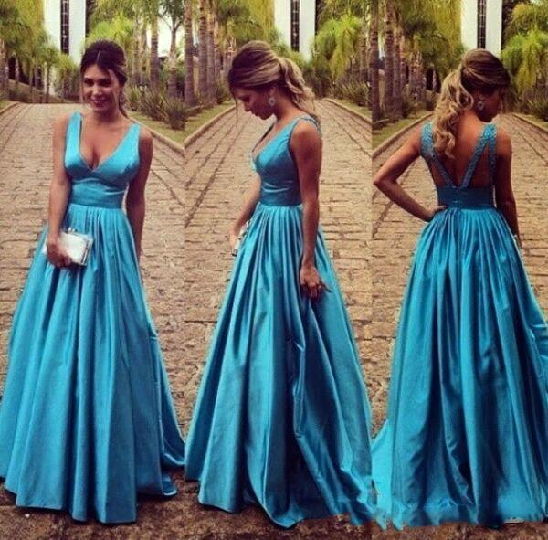 Elegante V Profundo Pescoço Luz Azul Vestidos De Noite 2019 Projetado V Cortado Para Trás Uma Linha Prom Vestido De Festa