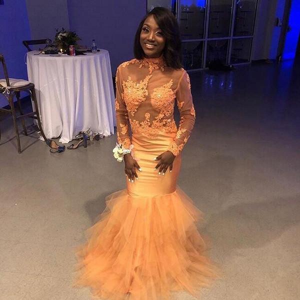 2019 Prom Dresses sirena sexy per African Black Girl con applicazioni di pizzo maniche lunghe sirena abiti da sera formale night club partito usura
