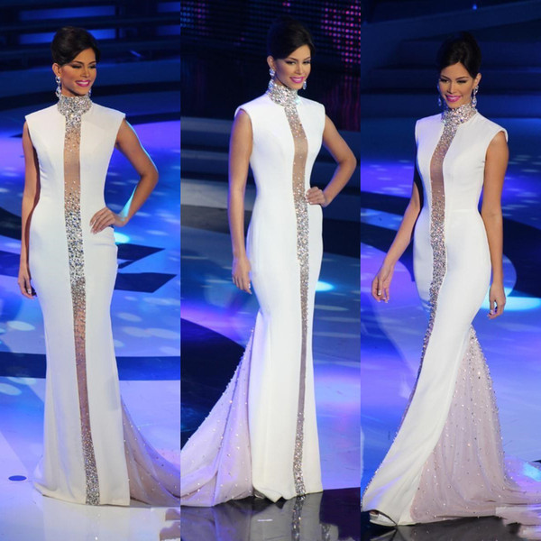 Miss Universe Pageant Prom Dresses White High Neck Bling Crystal Beaded 2019 Cheap Mermaid Celebrity Party Gowns Formal Event Evening Wear