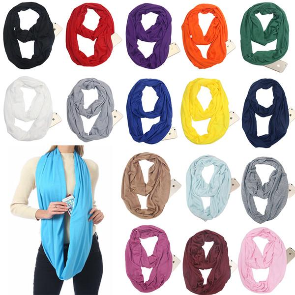 18 colors Pocket Scarves Women Girls Lightweight Infinity Scarf Wrap Hidden Zipper Pocket Travel Scarfs Storage Bib saver Christmas Gift