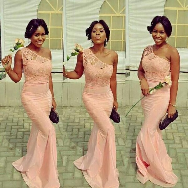Peach African Lace Bridesmaid Dresses One Shoulder Fall Spring Mermaid Maid of Honor Wedding Party Gowns Plus Size Nigerian Black Girl Prom