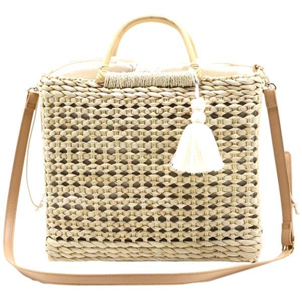 New-Hollow Fringed Woven Straw Bag Wooden Handle Shopping Bag Woman Fashion Tassel Messenger Handbag(Beige)
