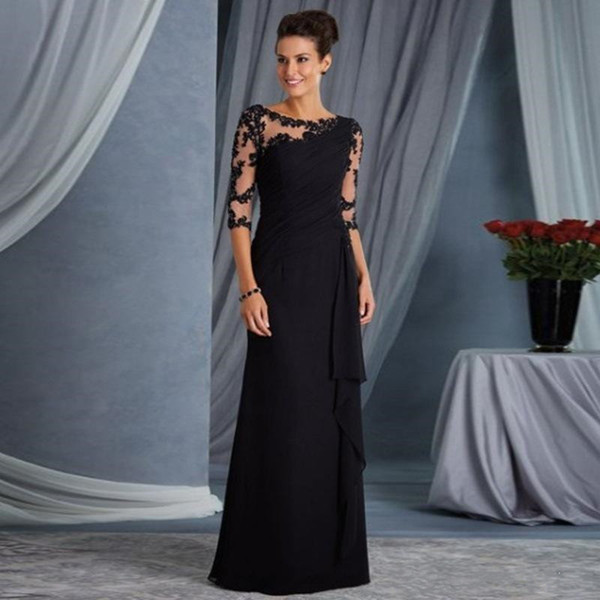 Elegant Black Chiffon Mermaid Mother Of The Bride Dresses 2019 Applique Pleated Long Sleeves Prom Dress Floor Length Evening Gowns