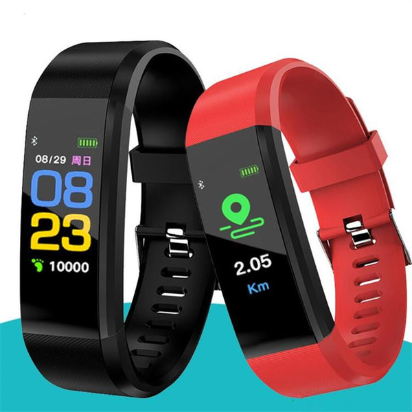 top popular ID115 Plus Color Screen Smart Bracelet Fitness Tracker Pedometer Watch Band Heart Rate Blood Pressure Monitor Smart Wristband For Android 2020