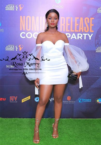 Sexy Party Off épaule blanche robes de cocktail 2020 Taille Plus Puff manches longues africaine arabe pas cher à court formelle Soirée Retrouvailles Robes