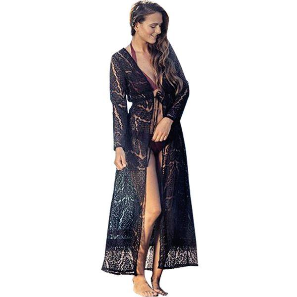 Summer Women Boho Long Crochet Lace Cardigan Color sólido Manga larga Beach Kimono Tie Cintura Front Open Bikini Cover Up Beachwear