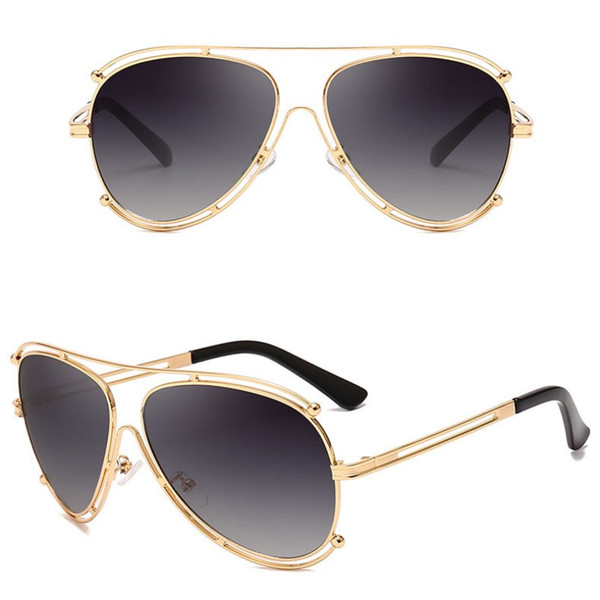 Designer Sunglasses Men Cool Big Metal Frame Sun Glasses Vintage Pilot Eyeglasses Mercury Lenses 6 Colors Wholesale