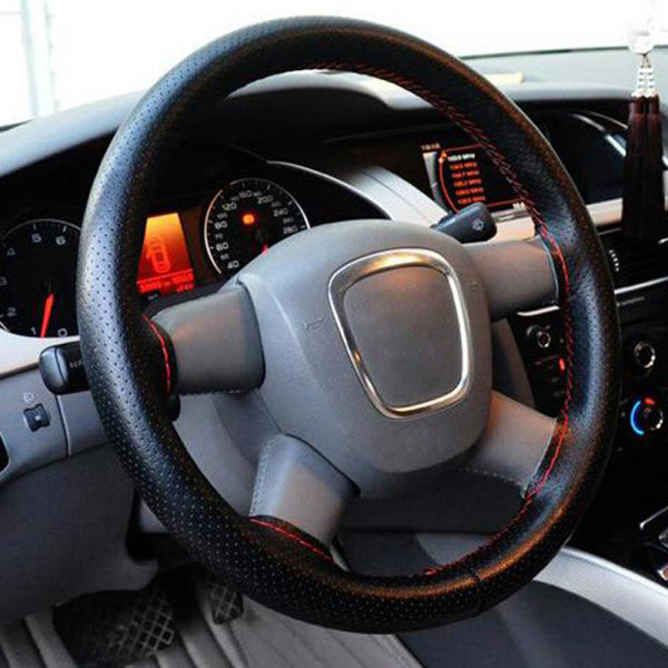 Drive Car Steering Wheel Cover with Needles and Thread Protector PU Leather