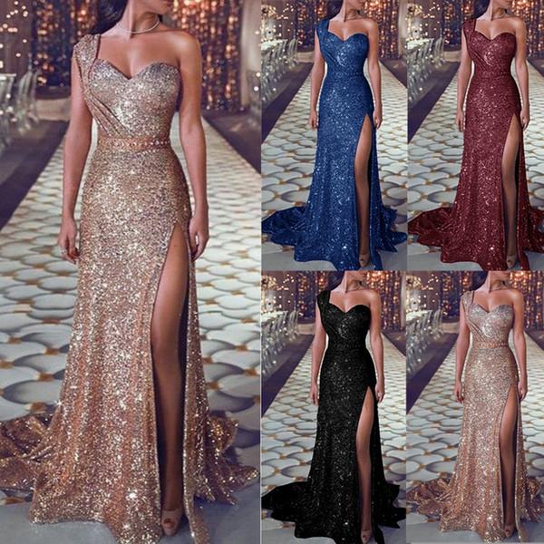 Dividir elegante lantejoulas vestido de noite 2019 Plus Size de um ombro sem mangas tribunal trem comprimento Prom Vestidos Vestidos de noite LOL produtos