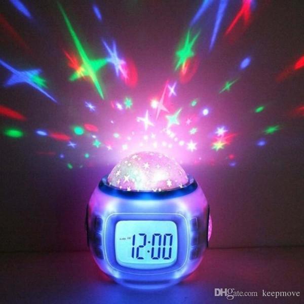 LED Digital Wecker Snooze Starry Star Glowing Wecker Für Kinder Baby Raumkalender Thermometer Nachtlicht Projektor