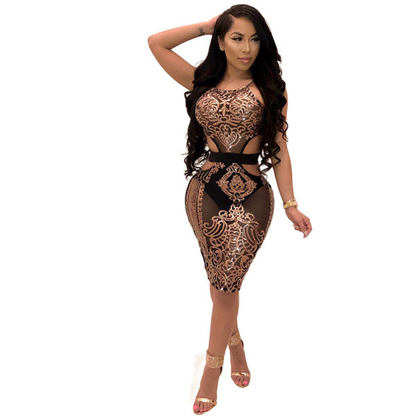 Women Sexy 19ss Party Club Dresses Summer Sequined Dress Bright Bodycon Dress