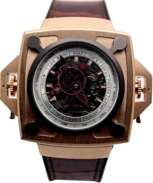 Lujo Nueva marca Hombres Acero inoxidable Clásico Automático Cuadrado Mecánico Negro Marrón Cuero Negro Rosa Oro Plata Reloj deportivo