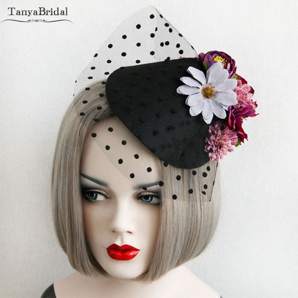 Black Fashion Hats with Flowers and Dot Tulle Elegant Wedding Bridal Hat small Hats pamela toca disco