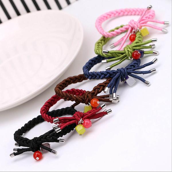 Cuerda 1pcs encantador de la manera mujeres de la muchacha de pelo de Hairbands de caramelo de color de los accesorios principales elástico arco Hairband