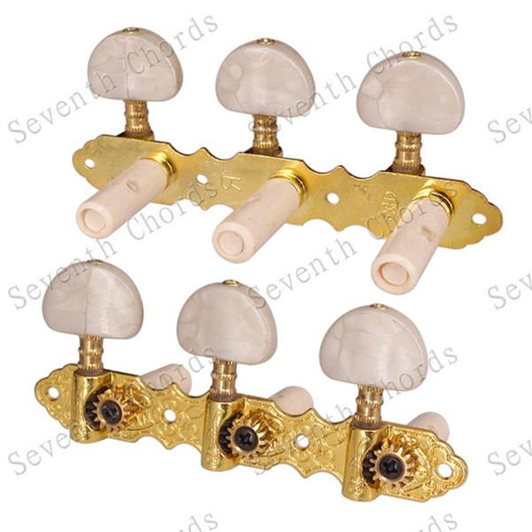 2Pcs / Set dourado clássico Chefes violão de cordas de cravelhas Chaves Tuners máquina com metade rodada White Pearl Dica acessórios de guitarra
