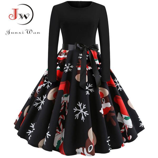 Winter Weihnachten Kleider Frauen 50 s 60 s Vintage Robe Swing Pinup elegante Party Kleid Langarm Casual Plus Size Print schwarz Y190516