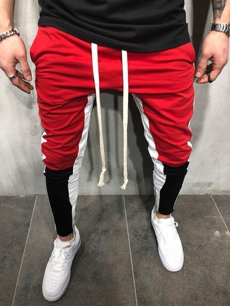 Hiphop Men Casual Jogger Pantalones Primavera SS19 Hombre Deportes Colores Patchwork Lápiz Pantalones Pantalones Casual