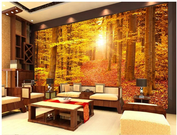 forest wallpaper Warm color forest TV background wall mural 3d wallpaper 3d wall papers for tv backdrop