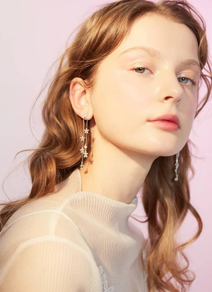 Fashion Sliver Long Earrings for Woman simple Original Desidned Elegant temperament Earbobs Lovely Latest Exquisite Eardrops