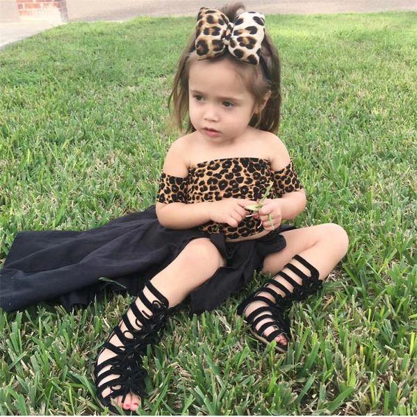 Infantil Toddler Kids Baby Girls Casual Tops T shirts Hot Fashion Leopard Skirts 4Pcs Set Party Short Sleeve Summer Suit