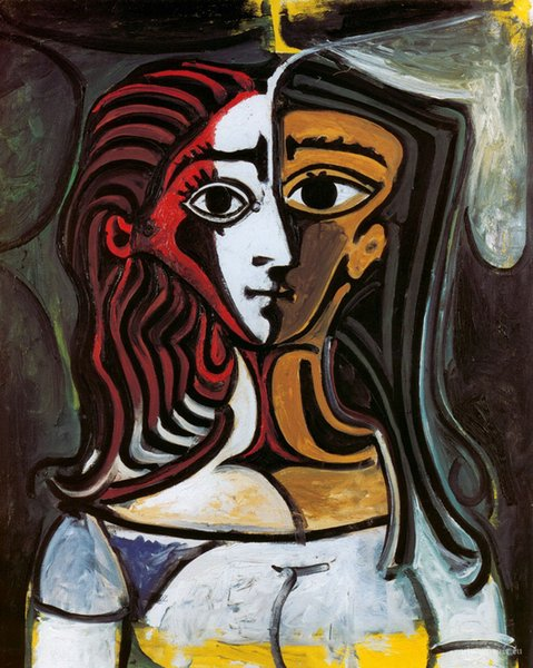 2019 Pablo Picasso Abstract Art Two Faces Of The Girl Oil Painting Reproduction High Quality Giclee Print On Canvas Modern Home Art Decor 269 From
