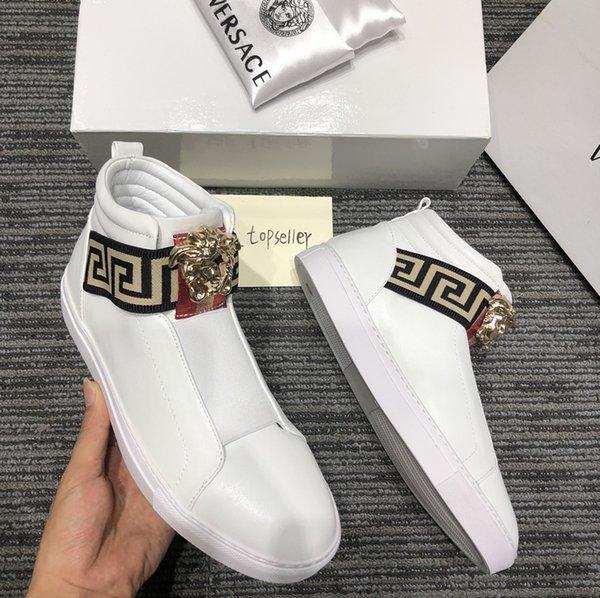 2020A nouvelle tendance chaussures de sport haut en haut en cuir de luxe hommes mode et les chaussures de sport amants sauvages chaussures LuxuryLouisVuittonversace 38-45