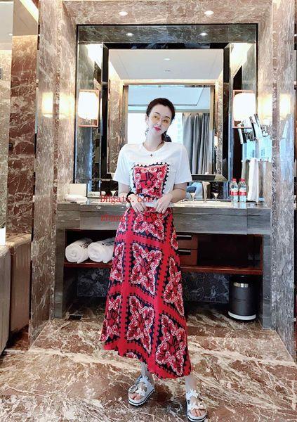 Vestido de verano de las mujeres trajes de dos piezas mujeres Chándal impresión de manga corta camiseta + seda de impresión de cintura alta falda de la cadera ropa de mujer BC-4