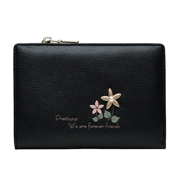 Short Fashion Clutch Small Wallets Women Flower Design Zipper Coin Purse Ladies Pu Leather Trifold Wallet Clutch Money Bag