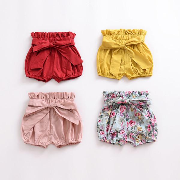 Kinder Shorts Mädchen Bogen Holzohr Laterne Shorts Mitte Taille Kautschukgürtel Blume Einfarbig Kinder Shorts 45