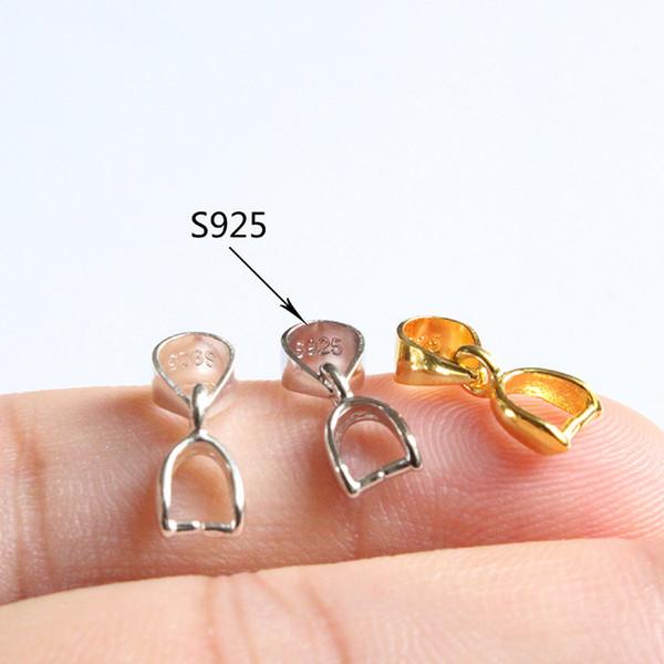 100% S925 Gümüş Istakoz Pençe Tokalar Kolye Toka Tutam Charm Bağlayıcı Toka Kolye / Bulgular / Parlak / Platin / Altın / Rosy Gitmek