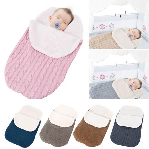 Manta de bebé caliente Saco de dormir suave para bebé Saco para pies Recién nacido Envoltura de pañales Envoltura de algodón para tejer Accesorios para cochecito Sacos de dormir