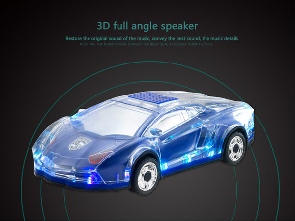 Car Shape Speaker USB TF Card Stereo FM Radio Cars Model Speakers USB MP3 Music Player Bass Kid Gifts Sound Box for PC(blue)