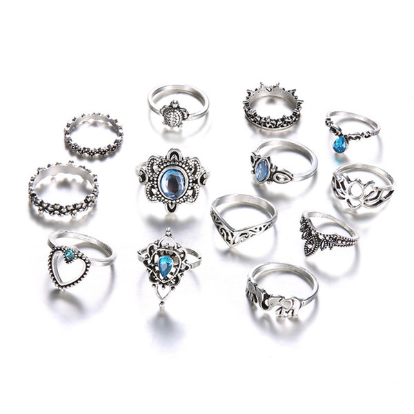 best selling Diamond Heart Elephant Turtle Crown Stacking Rings Ancient Silver Knuckle Ring Set Midi Ring women fashion Jewelry Will and Sandy gift