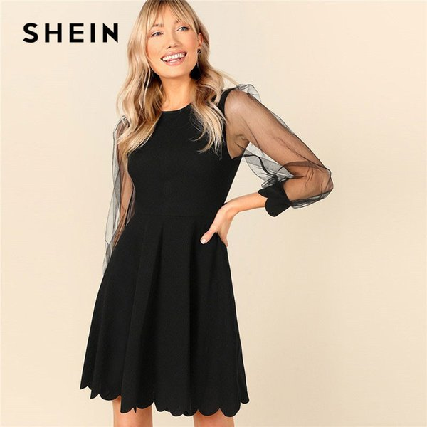 SHEIN Black Lace Mesh Sleeve Scallop Edge Fit And Flare Dress Women Spring Round Neck Long Sleeve A-line Ladies Dresses