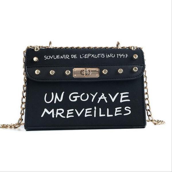 10pcs/lot 2018 Fashion Handbag High quality Frosted Women bag Sweet Printed Letter Square Phone bag Chain Shoulder