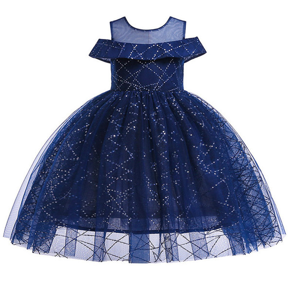2019 Dark Blue Tulle Flower Girl Dresses for Wedding Ball Gowns Pageant Dress Sequins First Communion Dresses Customs Girls Pageant Gowns