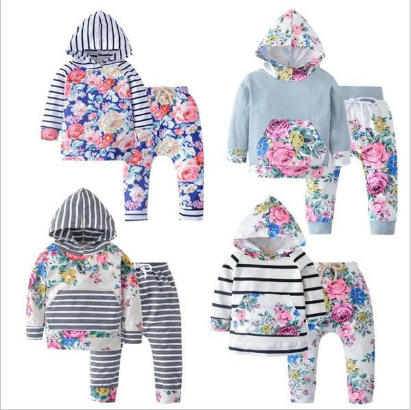 Enfants Designer Vêtements Femmes Filles Fleurs Floral Vêtements Ensembles printemps rayé à capuche Pantalons Costumes Casual manches longues Vestes Pantalons Tenues