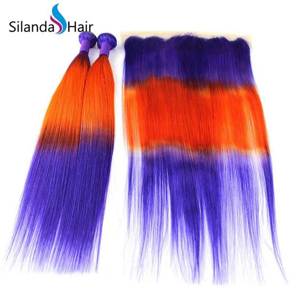 Silanda Hair Ombre Blue / Orange / Blue Straight Remy Brazilian Hair humano teje 3 paquetes de tejido con frontales de encaje 13X4 Envío gratis